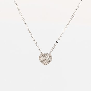 Heart shaped brilliant-cut diamond necklace.