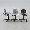 Bruno mathsson, a set of three saga office chairs later part of the 20th century.