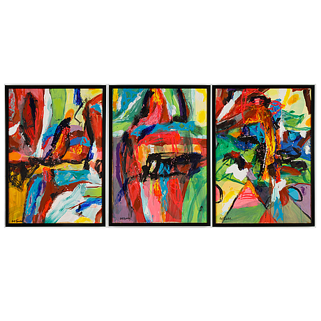 Rolf gjedsted, triptych, acrylic on canvas, signed.