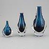 Mona morales-schildt, a set of three vases, kosta sweden.