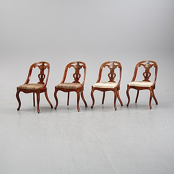 """A set of four mahogany chairs, also called """"Göteborgsstolar"""", mid 19th century."""