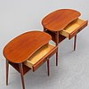A pair of bedside tables, sweden, mid 20th century.