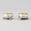 A pair of russian silver salt cellars, st petersburg, late 19th century.