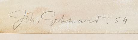 Johannes gebhard, akvarelli, signeerattu ja päivätty -54.