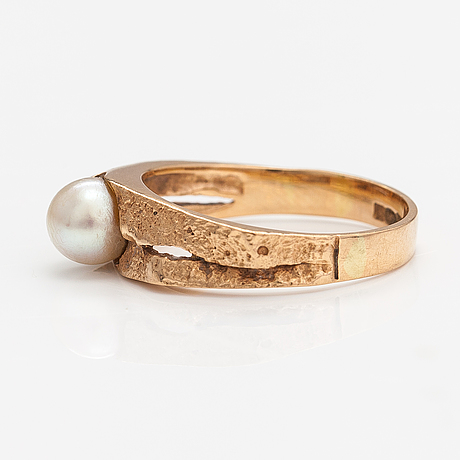 """Björn weckström, """"lappland spring"""", a 14k gold ring with a cultured pearl. lapponia 1974."""