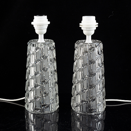 A pair of glass table lamps.