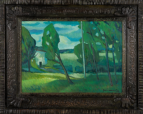 Kosti ahonen, oil on panel, signed and dated -92.