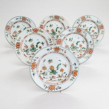 Tallrikar, 6 st, porslin, Kina 1700-tal.