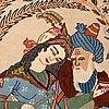 A rug, old esfahan figural, 108 x 76 cm.