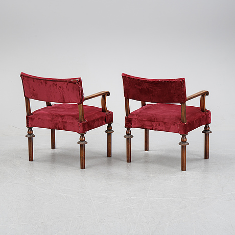 A pair of swedish grace 1920's armchairs.