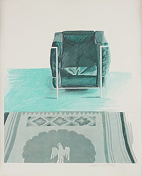 """435. David Hockney After, """"Corbusier Chair and Rug""""."""