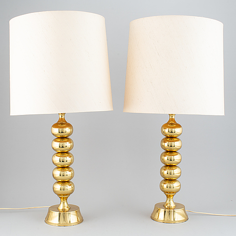 A pair of enco brass table lamps, 1960s-70's.