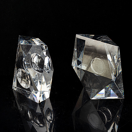 Jan johansson, a pair of signed glass sculptures orrefors later part of the 20th century.