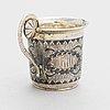 Charka, supkopp i silver, förgyllt silver och niello, moskva, ryssland 1800-talets mitt.