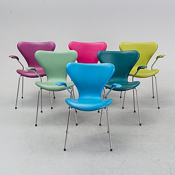 "Arne Jacobsen, karmstolar, 6 st, ""Sjuan"", Fritz Hansen, Danmark."