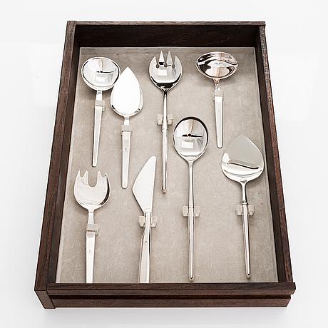 Tapio wirkkala, a 98-piece set of 'marski' sterling silver cutlery, kultakeskus, hämeenlinna 1988. original cutlery box.