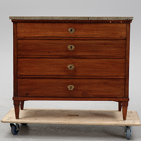 A late gustavian chest of drawers, ca 1800.