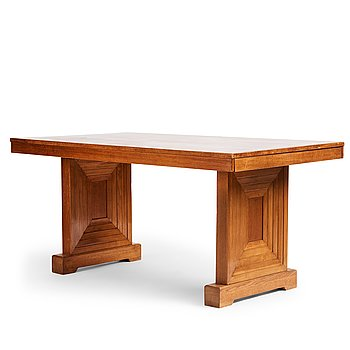 375. Oscar Nilsson, attributed to, a stained oak table, probably executed at Isidor Hörlin AB, Stockholm, 1930-40's.