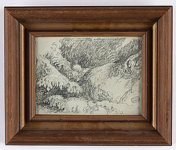 John Bauer, pencil drawing, signed.