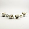 A group of eight (4+4) cups with covers, china, early 20th century.