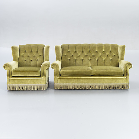 Sofa and armchair, later part of the 20th century.