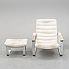 """Ilmari lappalainen, a lounge chair with ottoman, model """"pulkka"""" for asko, finland. designed in 1968."""