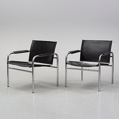 A pair of 'klinte' armchairs by tord björklund for ikea, 1980's.