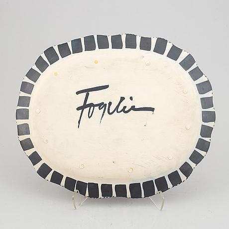 Herman fogelin, plate, stoneware, signed.