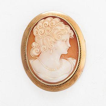 Brosch, 14K guld, snäckskalskamé.
