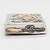 A silver cigarette case, maker's mark of ferdinand timper, helsinki 1902.