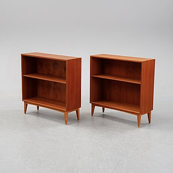 A pair of teak veneered bookcases, mid 20th Century.