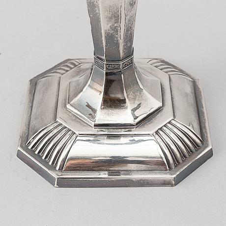 A finnish silver candelabra for seven candles, turku, 1977.