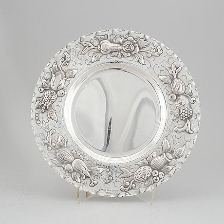 A baroque style silver charger, maker's mark eric råström, cg råström, stockholm, 1977.