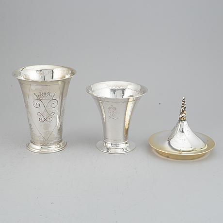 Bägare, 2 st, samt lock, silver, k. andersson, stockholm, 1927, 1922 och 1948.