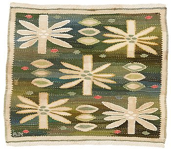 "207. Barbro Nilsson, a textile, ""Näckrosorna"", tapestry weave, ca 41-42 x 45-47,5 cm, signed BN."