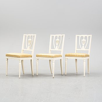 Three Gustavian style chairs, early 20th Century.