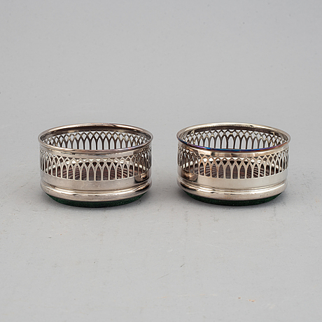 Coasters, two pairs, silver plate, england.