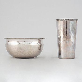Tapio Wirkkala, a sterling silver bowl, Finland 1973, and Eric Löfman, a silver beaker, MGAB, Sweden 1975.