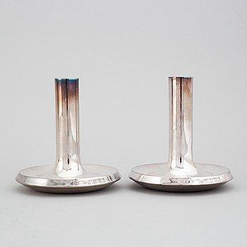 A pair of finnish silver candlesticks, Auran Kultaseppä Oy 1973.