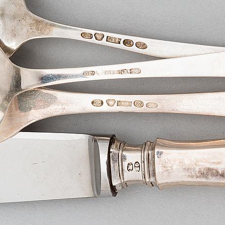 Gösta helenius, bestickuppsättning, 48 delar, silver, åbo 1912 och 1915.