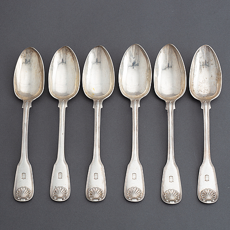 A set of swedish silver spoons and forks, mark of gustaf möllenborg, stockholm 1856-59 (6+6+6 pieces).