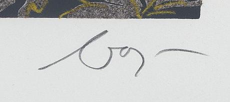Enrico baj, silkscreen med applikation och glitter  signerad och numrerad 134/250.