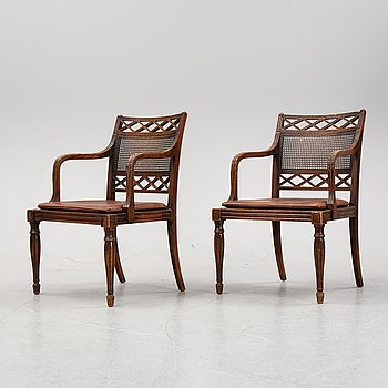 A pair of oak armchairs from Nordiska Kompaniet, early 20th Century.