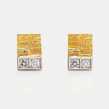 "Björn Weckström, A pair of 18K gold earrings ""Silvia"" with diamonds ca. 0.12 ct in total. Lapponia."