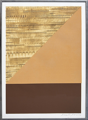 Arnaldo pomodoro, a signed and numbered colour etching with collage.
