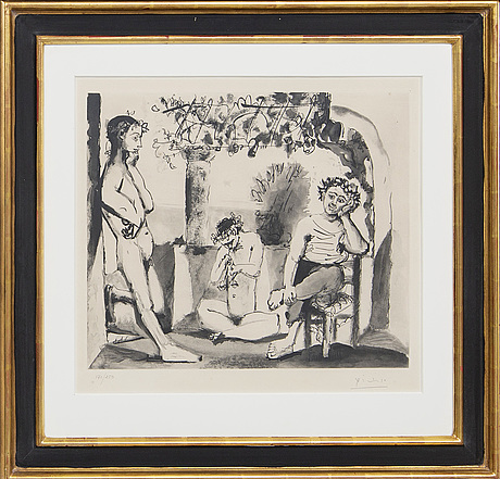 Pablo picasso, after, a signed and numbered aquatint.