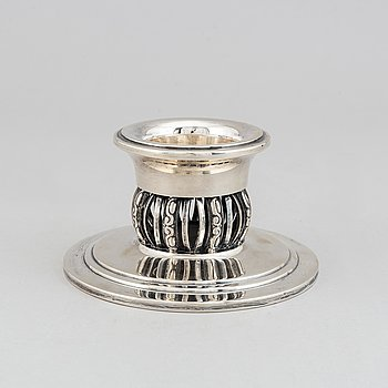 A silver candle holder by A.Halberstadt, Denmark, 1941.