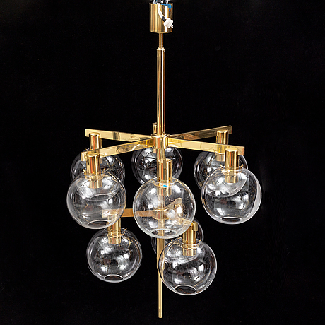A brass glass chandelier with 9 glass globes by hans agne jakobsson, markaryd.