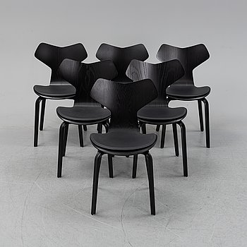 Arne Jacobsen, a set of six 'Grand Prix' chairs from Fritz Hansen, Denmark, 2014.