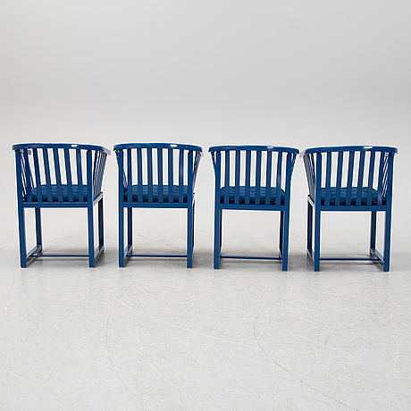 """Four blue laquered chairs """"vaxholmare"""", deigned by åke axelsson for garsnäs, 1990."""